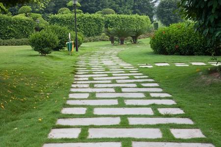 pedestrian walkway: Garden path through the lawn Stock Photo