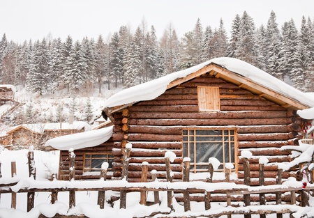 cottage fence: Winter cabin