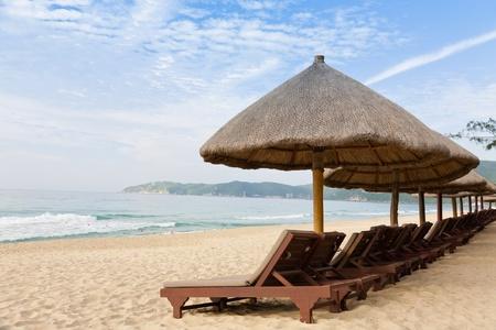 reclining chair: Morning beach landscape