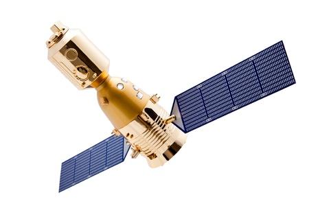 Ruimtevaartuig op witte achtergrond met uitknippad Stockfoto