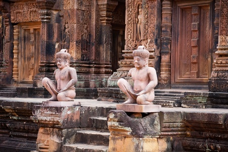 Ancient statues in Banteay Srei temple, Angkor photo