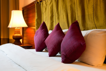 nightstand: pillows