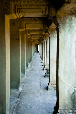 Ancient corridor at Angkor, Cambodia  photo