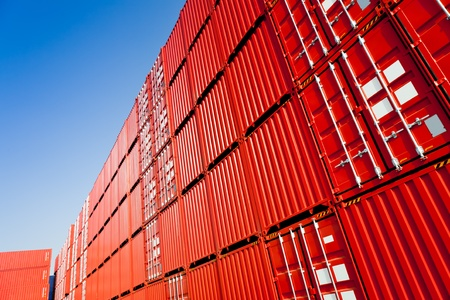 container port: Cargo containers Stock Photo