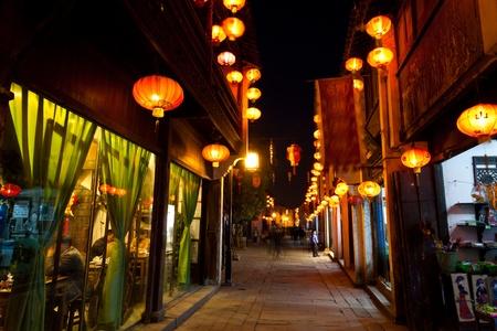 night scene of traditional Chinese town, Suzhou, China