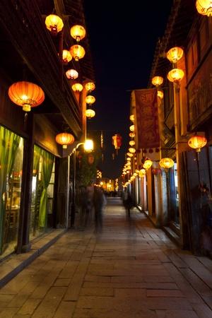 night scene of China town, Suzhou, China