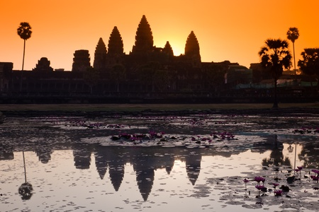 siem reap: Angkor wat silhouette at sunrise Stock Photo