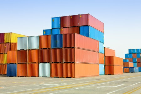 cargo containers at shipping harbor Stock Photo - 10648561
