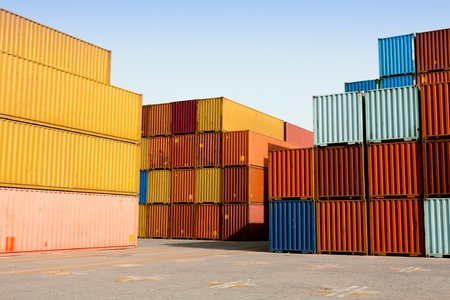 cargo containers at shipping harbor Stock Photo - 10633000