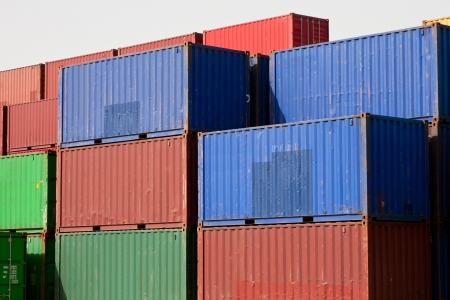 container blocks at shipping harbor