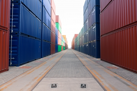 Stacks container blocks at shipping harbor Stock Photo - 10628947
