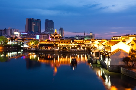 Beautiful night scene of the city Suzhou, China photo