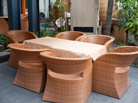 patio with wicker sofas and table at the sidewalk, the Broad and Narrow Alley, Chengdu, China