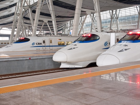 bullet train: high speed trains stop at station,Beijing South Railway Station, China