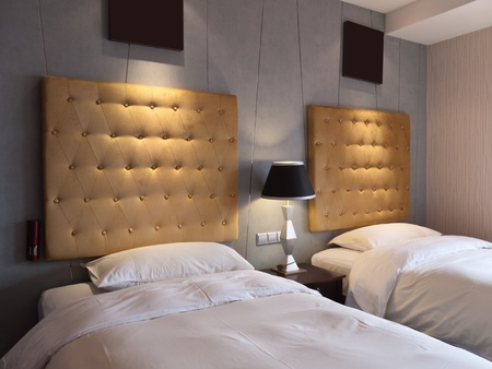Twin beds in hotel room,Youngor Leidisen Hotel, Suzhou, China