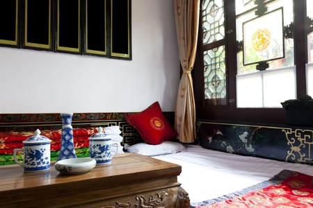 Traditional Chinese house interior, Chenjia Laoyuan Hotel, Pingyao, Shanxi Province, China