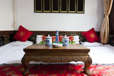 furnished: Traditional Chinese house interior, Chenjia Laoyuan Hotel, Pingyao, Shanxi Province, China Editorial