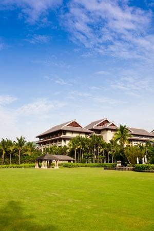 Resort hotel with lawns, Hilton Sanya Resort Spa, Hainan Island, China Stock Photo - 11185702