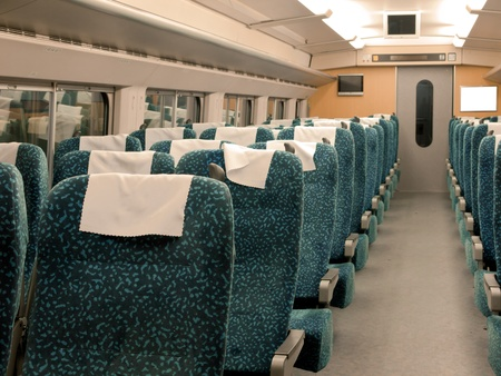 bullet train: Interior of the CRH High-speed train at the Southern Railway Station, Beijing, China