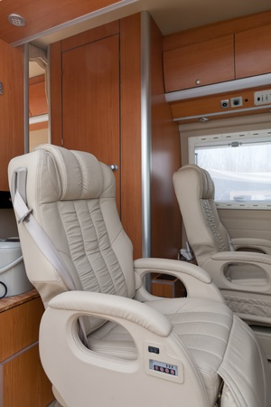 legroom: Car seats inside of caravan,  Beijing CCaravan Exhibition, China Editorial