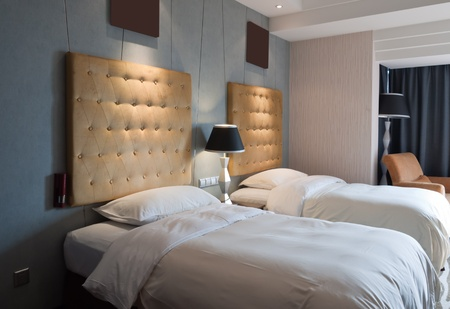 Twin beds in hotel room,Youngor Leidisen Hotel, Suzhou, China Stock Photo - 11185683