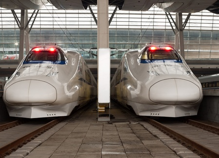 bullet train: The CRH High-speed trains stop at the Southern Railway Station, Beijing, China