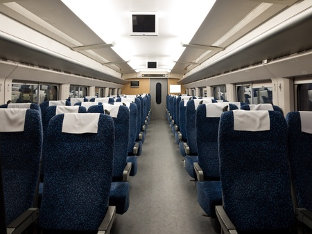Interior of the CRH High-speed train at the Southern Railway Station, Beijing, China