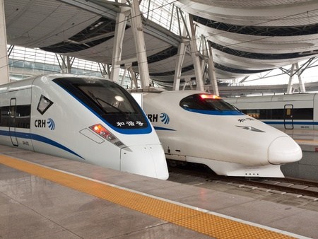 CRH High-speed trains stop at the Southern Railway Station, Beijing, China