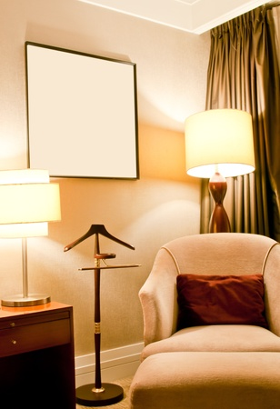 Modern living room with sofa, lamp,table and curtain, Huaying hotel, Qingdao, China