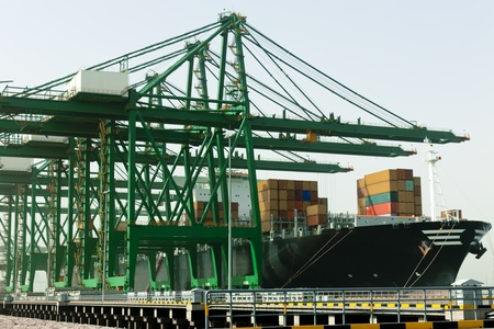 Loading container ship at port, Tianjin, China. Stock Photo - 11565109