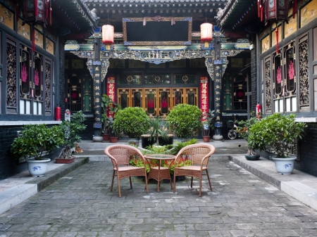 chinese courtyard: Traditional Chinese Building of old compound, Cheng