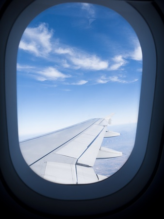 aluminum airplane: Looking out through the porthole