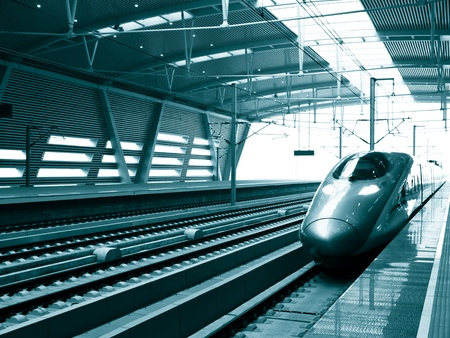 railway track: high speed train stop at station,Beijing South Railway Station, China
