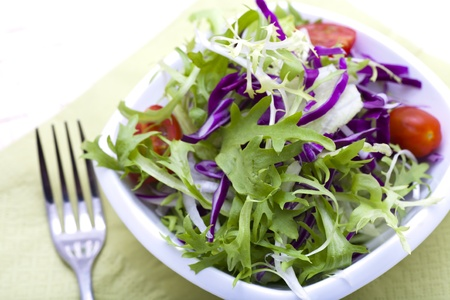 Garden salad with fresh lettuce leaves, tomato Stock Photo - 13282520
