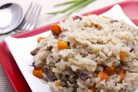 malaysia culture: fried rice with chopped meats and vegetables  Stock Photo