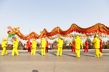 hebei province: Yu County, Hebei province, China - February 5th, 2012: Chinese people celebrated Lantern Festival by showing traditional dragon dancing.