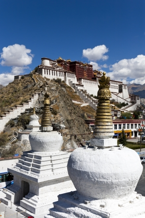 potala: The Potala Palace is located in Lhasa  was the chief residence of the Dalai Lama until the 14th Dalai Lama fled to Dharamsala, India, during the 1959 Tibetan uprising.