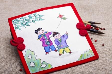 niños chinos: Niños chinos, vestidos de traditonal sobre pintura