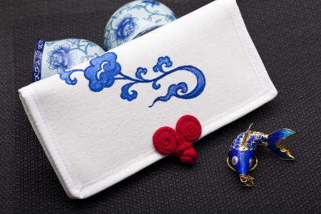 notecase: Canvas purse with traditional Chinese painting on it  It s an elegant homemade artwork