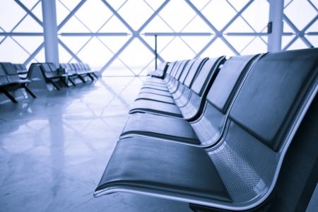 공항 터미널 대기실, 블루 톤, 천진 공항, 중국
