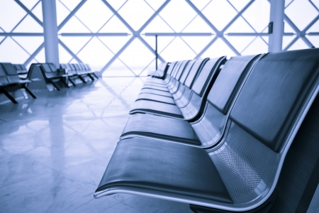 waiting area: Airport terminal waiting area, blue toned, Tianjin Airport, China Editorial