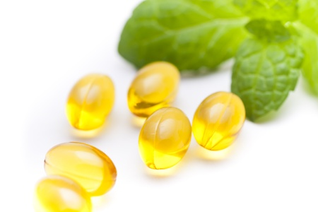 naturopath: Fish oil nutritional supplement capsules Stock Photo