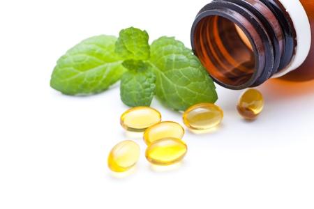Gel vitamin capsules with mint leaf