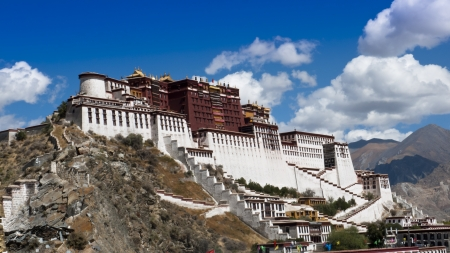 Tibet landmark - Potala Palace where  Dalai Lama were living and working  Stock Photo - 16424519
