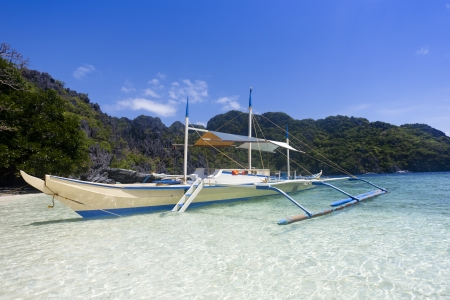outrigger: Outrigger ship moored at seaside, El Nido, Phillipines