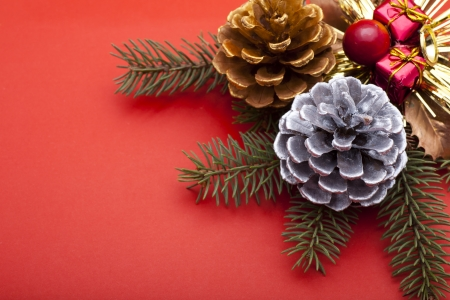 Christmas ornaments on red background Stock Photo - 16565152