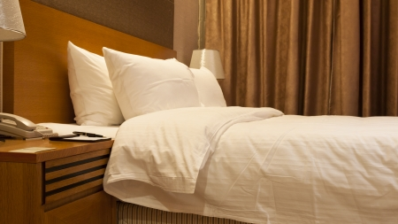 restful: Hotel bedroom details, pillow and quilt, Golden Seven Hotel, Suzhou, China