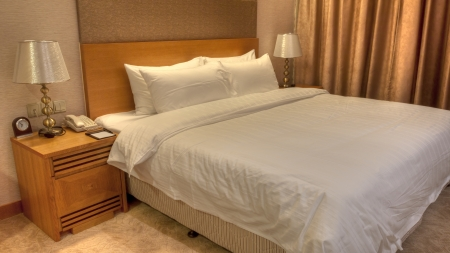 Hotel bedroom details, pillow and quilt, Golden Seven Hotel, Suzhou, China Stock Photo - 17877431