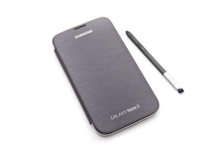 Samsung Galaxy Note II smart phone on white background. Stock Photo - 18279832
