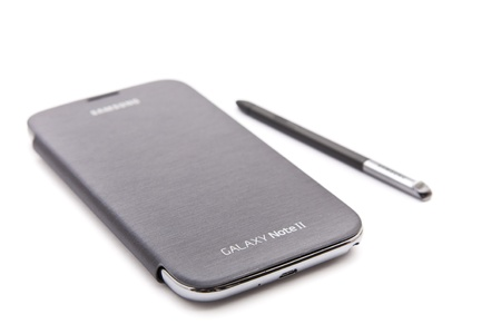 Samsung Galaxy Note II smart phone on white background.